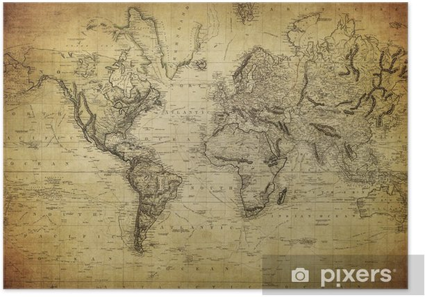 vintage map of the world 1814.. Poster - Themes