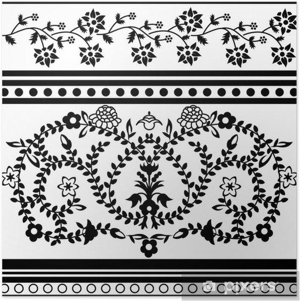 Poster Vintage ornement floral - Arrière plans