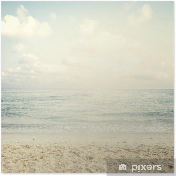 Poster Vintage plage tropicale en été - Paysages