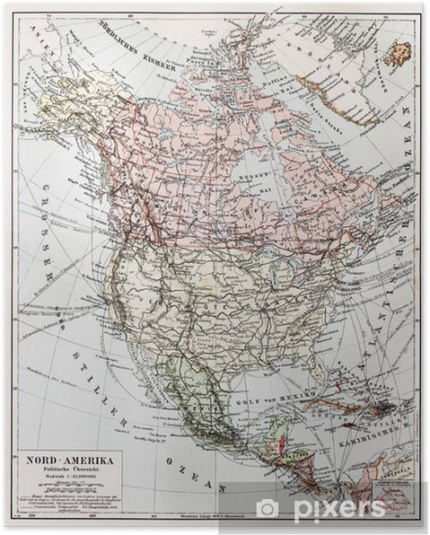 Map Of America 1900.Vintage Political Map Of North America In Early 1900 S Poster