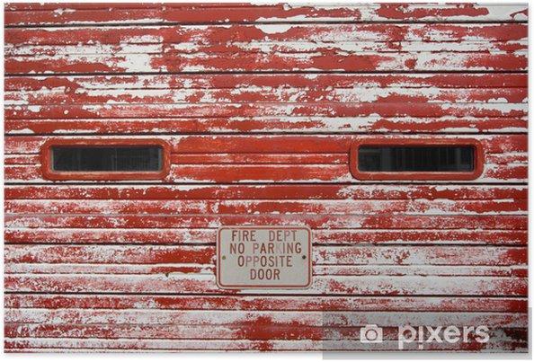 Poster Vintage Porte De Garage Des Pompiers à La Peinture écaillée