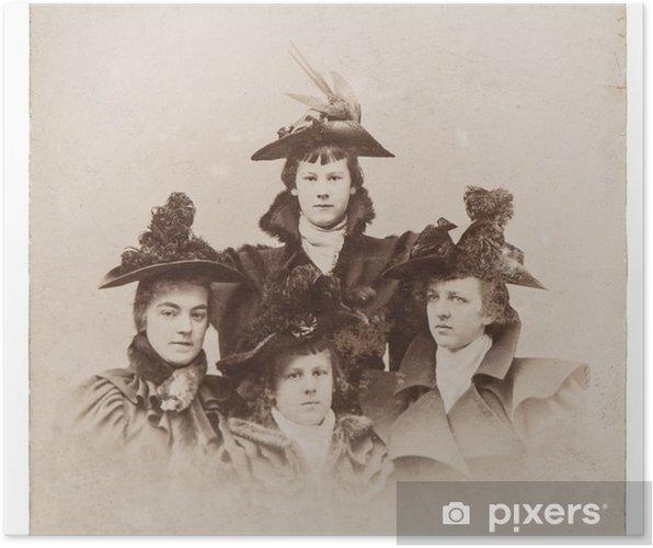 Vintage Kleding.Poster Vintage Portret Van Dames Dragen Van Vintage Kleding Antieke