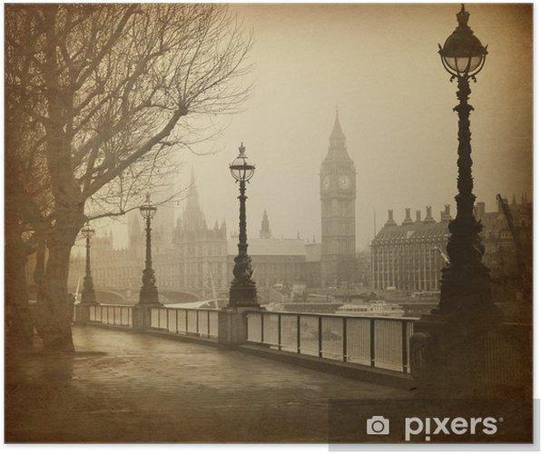 Póster Vintage Retro Picture of Big Ben / Casas del Parlamento (Londres) - Temas