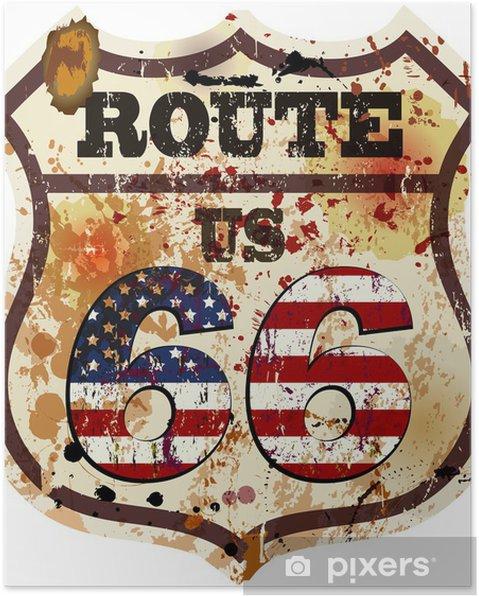 Poster Vintage route 66 vägmärke, retro stil, vektor illustration - Tecken och symboler