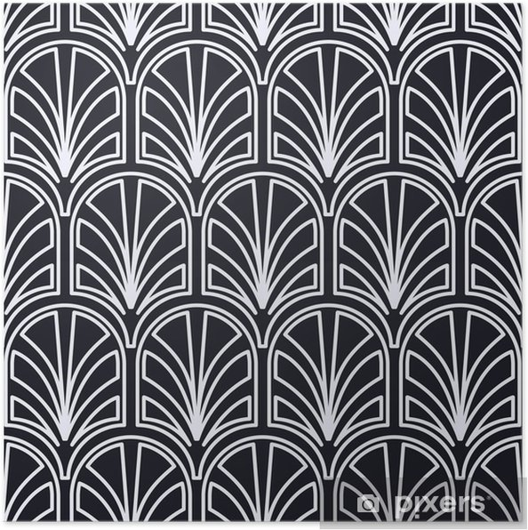 Póster Vintage sin costura art deco patrón. plantilla para diseño. ilustración vectorial - Recursos gráficos