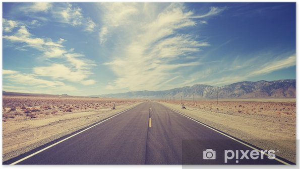 Poster Vintage stijl landweg in de VS - Reizen