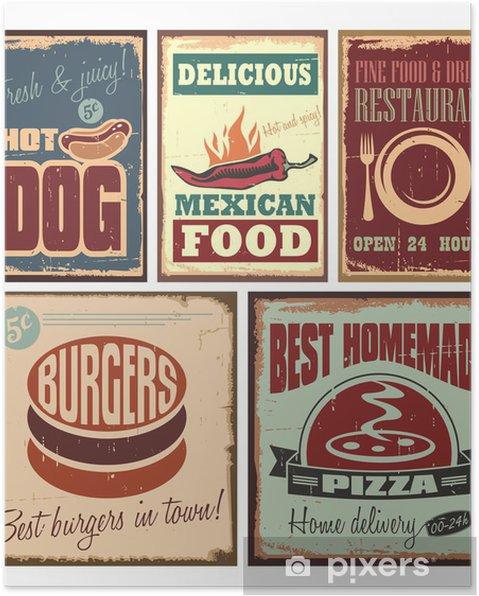 Poster Vintage stil tenn tecken och retro affischer - Måltider