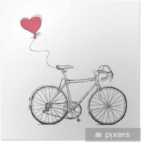 Poster Vintage Valentines Illustratie met de fiets en Hart Baloon - Grafische Bronnen