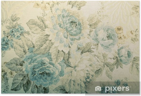 Vintage Wallpaper With Blue Floral Victorian Pattern Poster