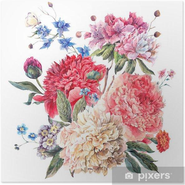 Poster Vintage Wenskaart Bloemen met Blooming Pioenen - iStaging
