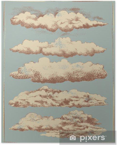 Poster Vintage wolk achtergrond vector set - Grafische Bronnen