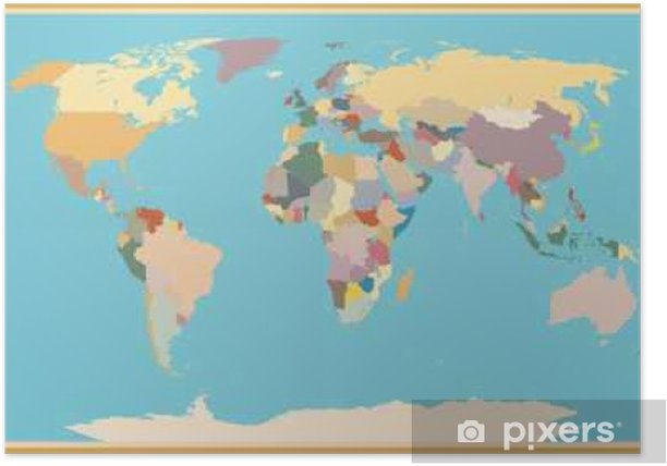 Verbazingwekkend VINTAGE WORLD MAP BLIND Poster • Pixers® - We live to change VC-92