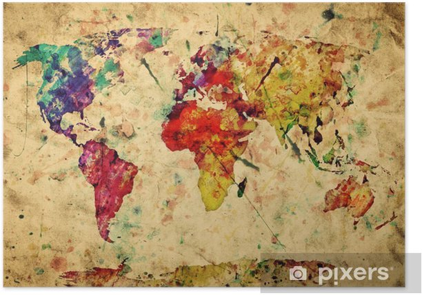 Vintage world map. Colorful paint, watercolor on grunge paper Poster -
