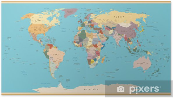 VINTAGE WORLD MAP Poster • Pixers® • We live to change