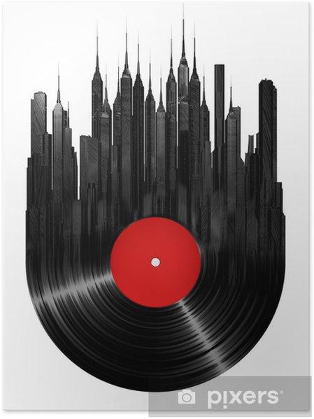 Poster Vinyl stad - Muursticker