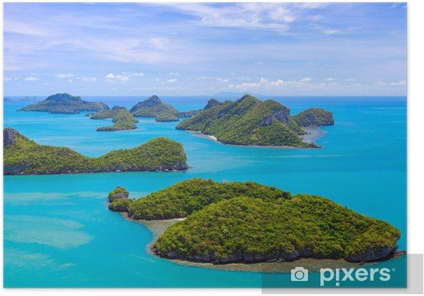Póster Vista de pájaro de la isla de Angthong, Tailandia - Asia