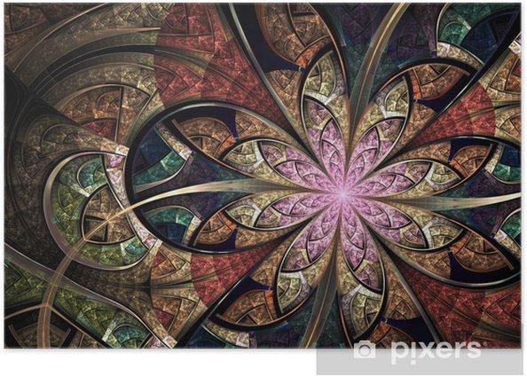 Poster Vitrail floral coloré, fractale art illustration numérique - Arrière plans