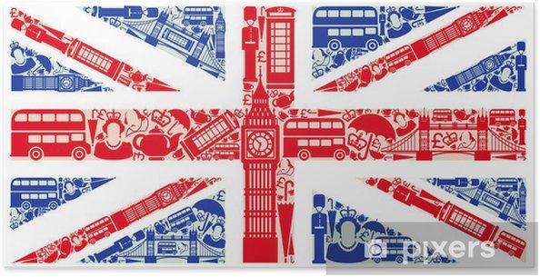 Poster Vlag van Engeland van symbolen van het Verenigd Koninkrijk en Londen -