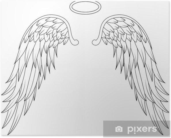 Poster Vleugels Engel Tattoo Ontwerpen