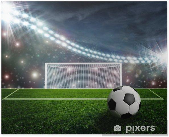 Poster Voet bal op groene stadion arena - Succes en Prestatie
