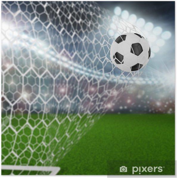 Poster Voetbal bal in doel netto - Succes en Prestatie