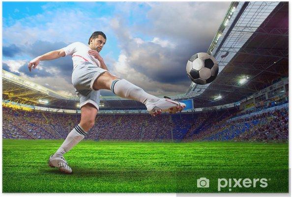 Poster Voetballer op het veld van het stadion - Thema's