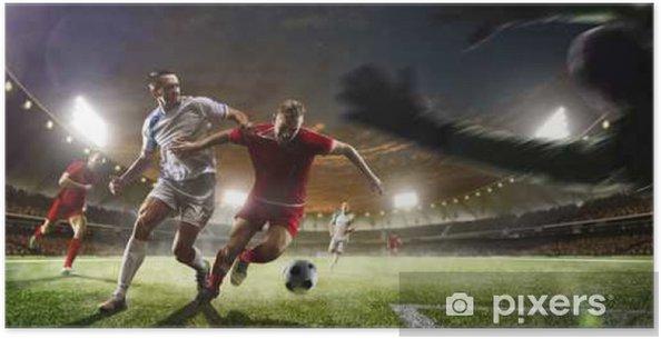 Poster Voetballers in actie op zonsondergang stadion achtergrond panorama - Sport