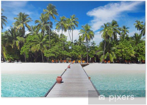 Poster Voetgangersbrug, Malediven - Eilanden