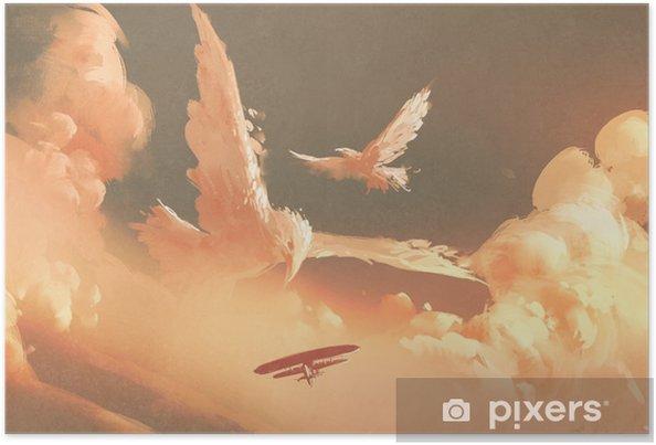 Poster Vogels gevormde wolk in zonsonderganghemel, illustratie het schilderen - Hobby's en Vrije tijd