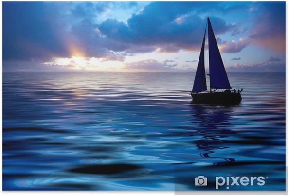 Poster Voile au coucher du soleil - Vacances