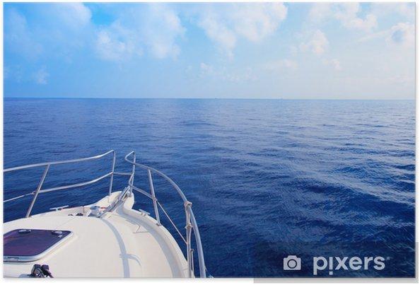 Poster Voile proue de bateau en bleu Méditerranée - Bateaux