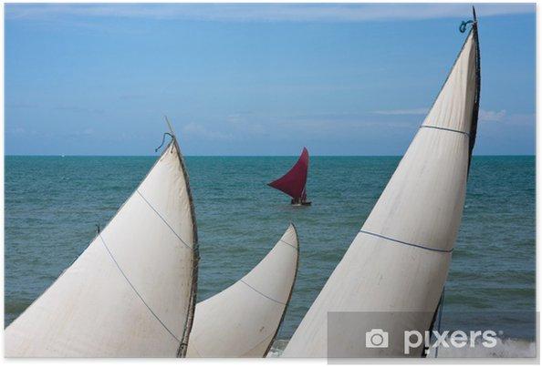 Poster Voiles Sur une plage brésilienne - Eau