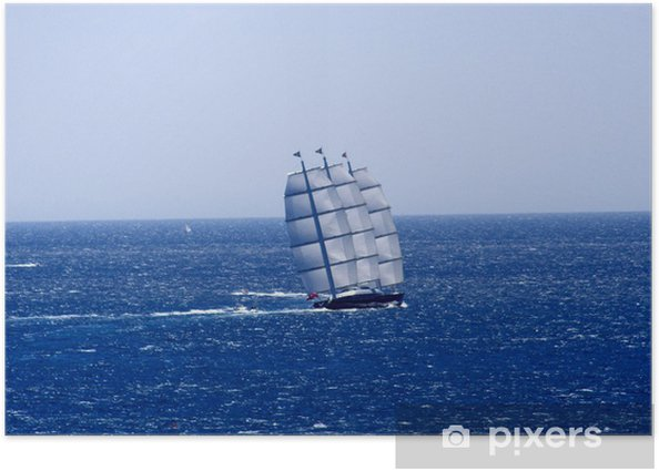Voilier à trois mats sur la mer méditerannée, France Poster - Europe