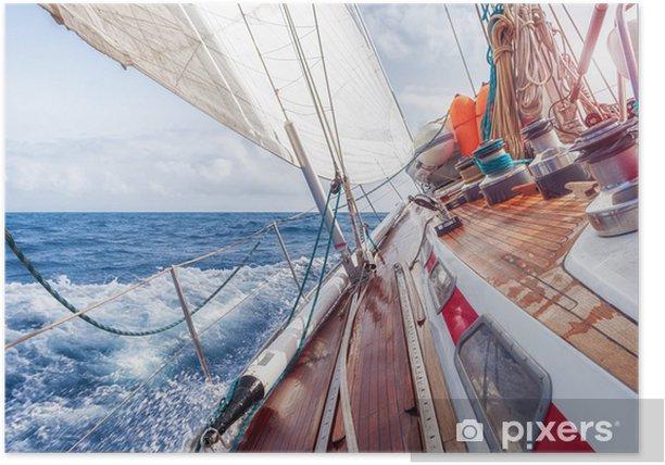 Poster Voilier naviguant sur les vagues - Bateaux