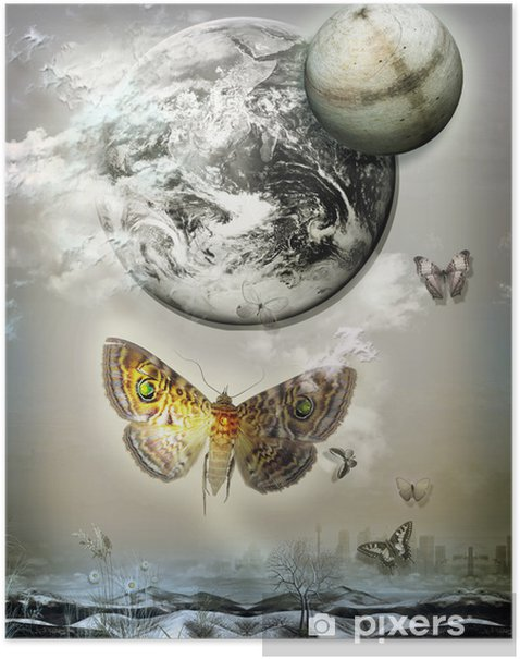 Poster Vol de papillons dans la nuit. - Bonheur