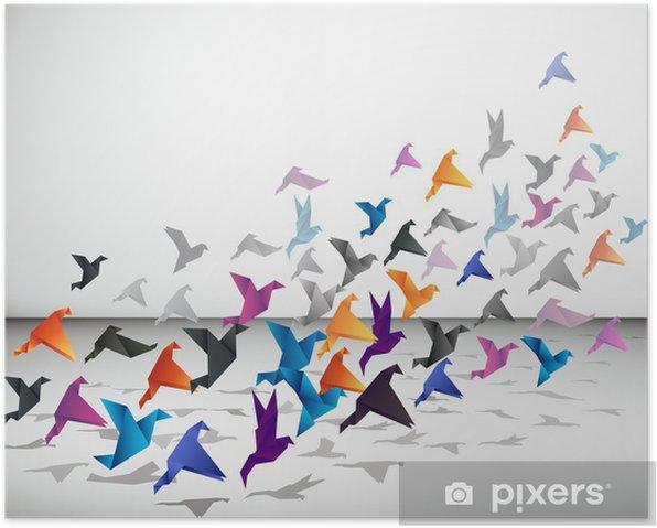 Poster Vol intérieur, les oiseaux commencent à voler Origami dans l'espace fermé. - Styles