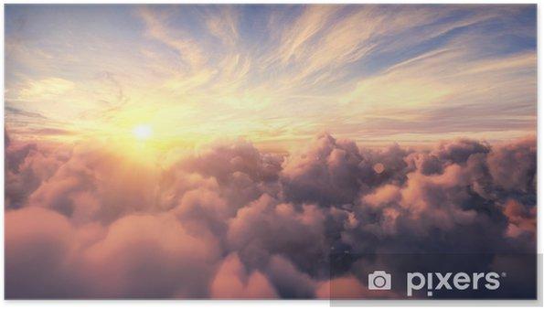 Póster Volando sobre las nubes de timelapse de la tarde con el sol tardío. Vuelo a través de cloudscape en movimiento con hermosos rayos de sol. viajando por aire perfecto para cine, fondo - Paisajes