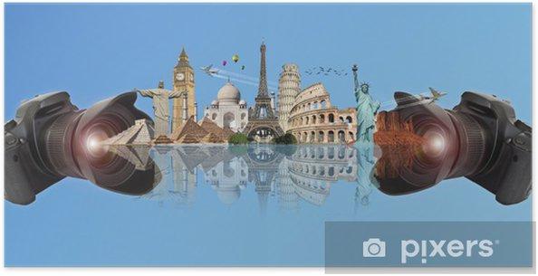 Poster Voyage dans le concept de caméra monde - Vacances