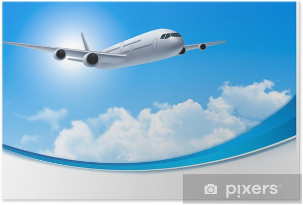 Poster Voyage fond avec un avion et les nuages blancs. Vector. - Ciel