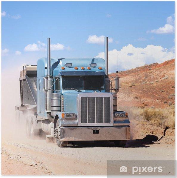 Poster Vrachtwagen op een woestijn - Amerika