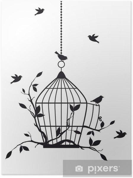 Poster Vrije vogels met open vogelkooi, vector -