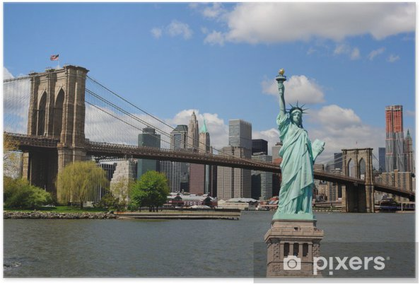 Poster Vrijheidsbeeld en de skyline van New York City - New York