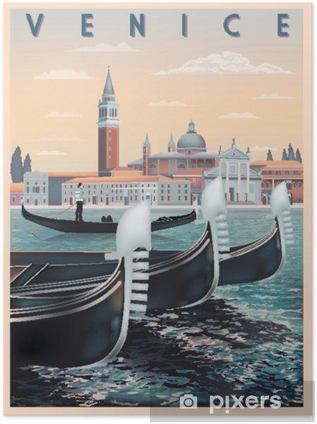 Poster Vroege ochtend in Venetië, Italië. reis- of postkaartsjabloon. alle gebouwen zijn verschillende objecten. handgemaakte tekening vectorillustratie. vintage-stijl. - Hobby's en Vrije tijd