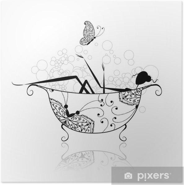 Poster Vrouw in de badkamer met schuim voor uw ontwerp - Muursticker