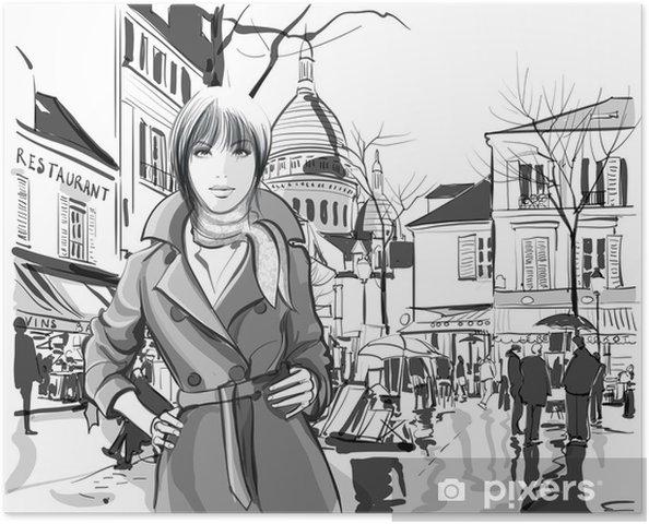 Poster Vrouw in Montmartre plein - Europese steden