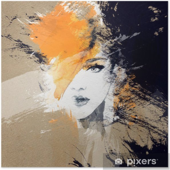 Poster Vrouw portret .abstract aquarel Mode-achtergrond - Mensen