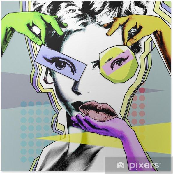 Poster Vrouwelijke schoonheid en plastische chirurgie. retro poster in de stijl van pop art .. - Levensstijl