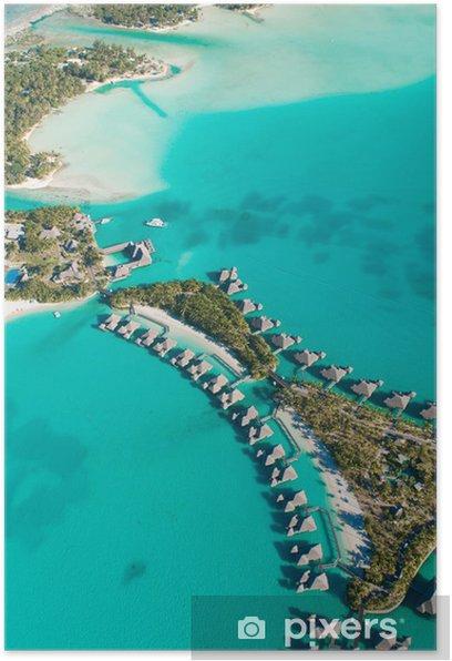 Poster Vue aérienne de bungalows à Tahiti - Vacances