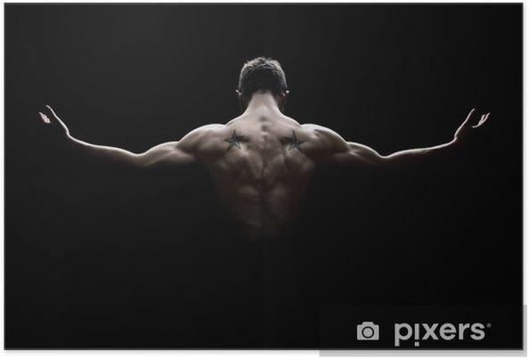 Poster Vue arrière de la santé jeune homme avec les bras tendus - Destin