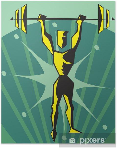 Poster Vue de face d'un haltérophile - Santé et médecine